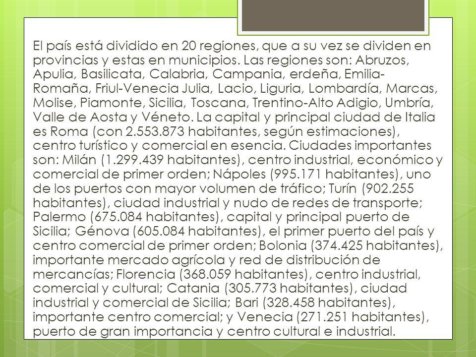 El país está dividido en 20 regiones, que a su vez se dividen en provincias y estas en municipios.