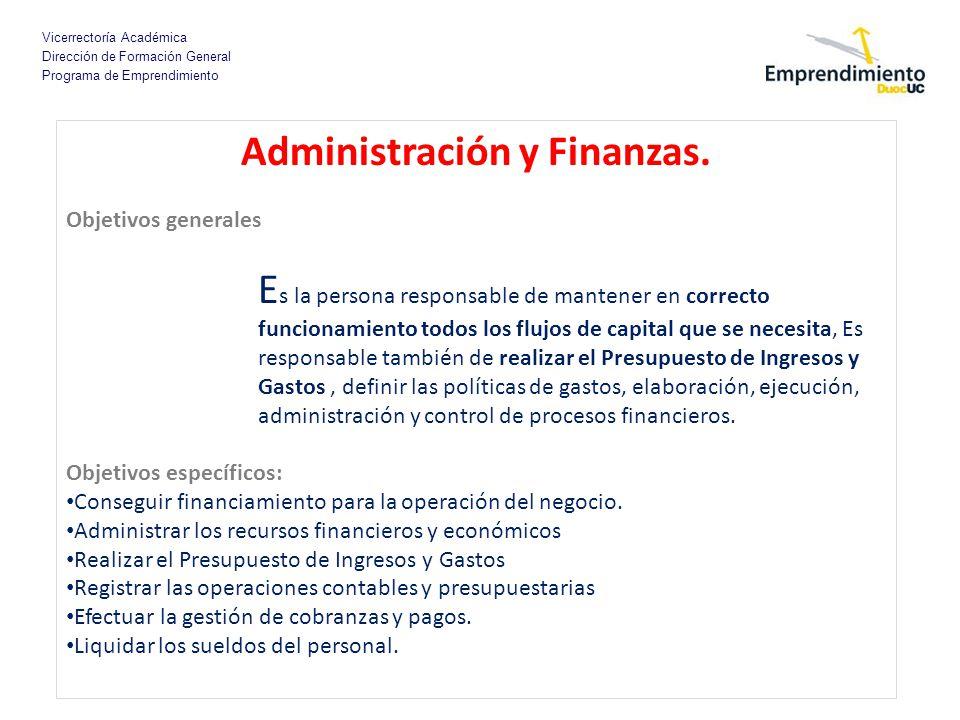 Administración y Finanzas.