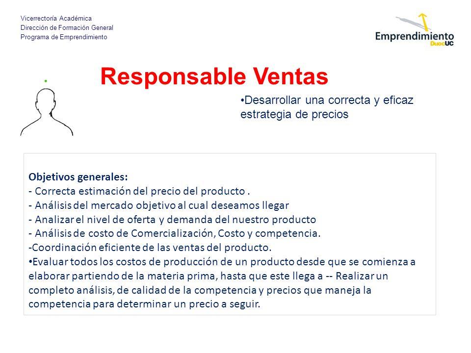 Responsable Ventas Desarrollar una correcta y eficaz estrategia de precios. Objetivos generales: - Correcta estimación del precio del producto .