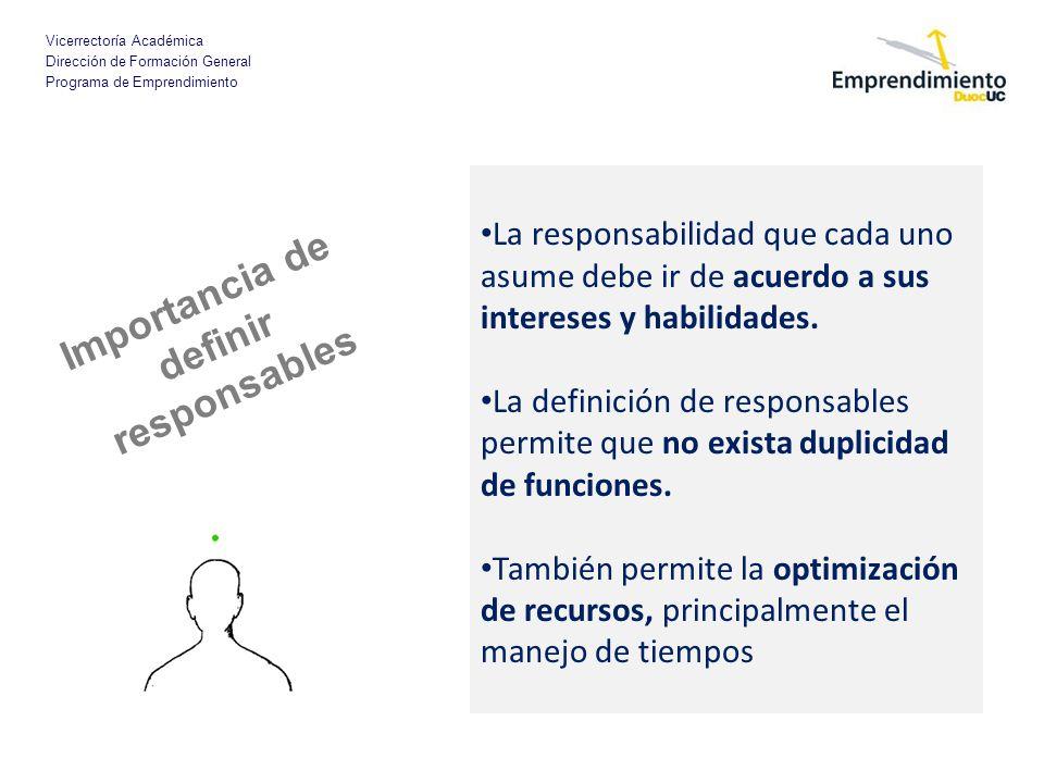 Importancia de definir responsables
