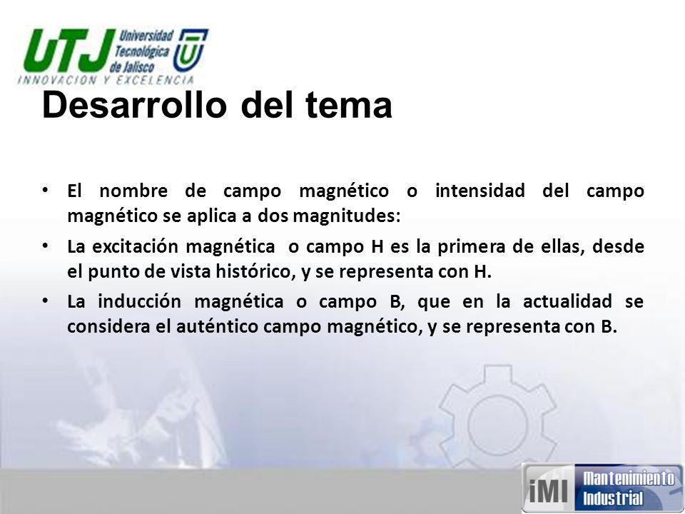 Desarrollo del tema El nombre de campo magnético o intensidad del campo magnético se aplica a dos magnitudes: