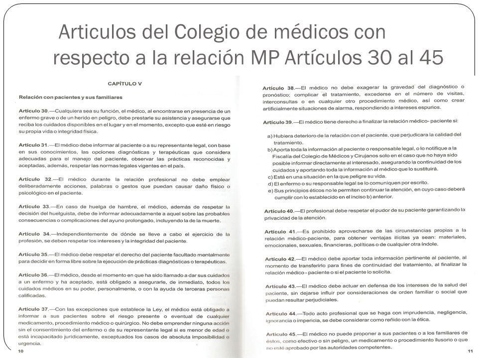 Articulos del Colegio de médicos con respecto a la relación MP Artículos 30 al 45