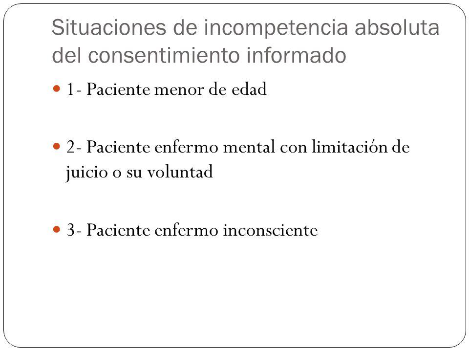 Situaciones de incompetencia absoluta del consentimiento informado