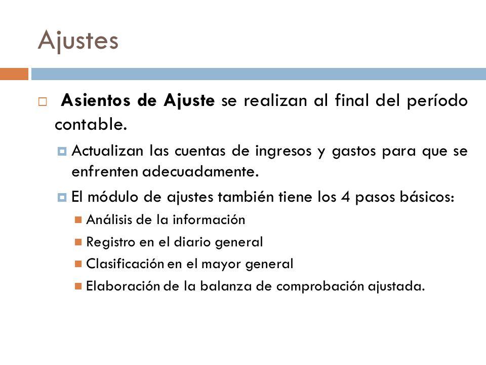 Ajustes Asientos de Ajuste se realizan al final del período contable.