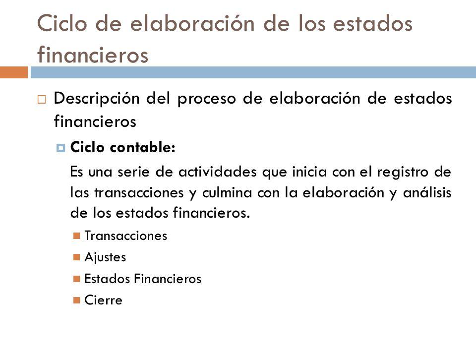 Ciclo de elaboración de los estados financieros