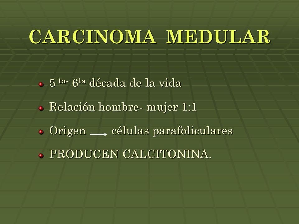 CARCINOMA MEDULAR 5 ta- 6ta década de la vida