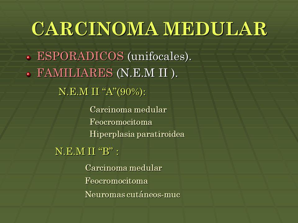 CARCINOMA MEDULAR N.E.M II A (90%): N.E.M II B : Carcinoma medular