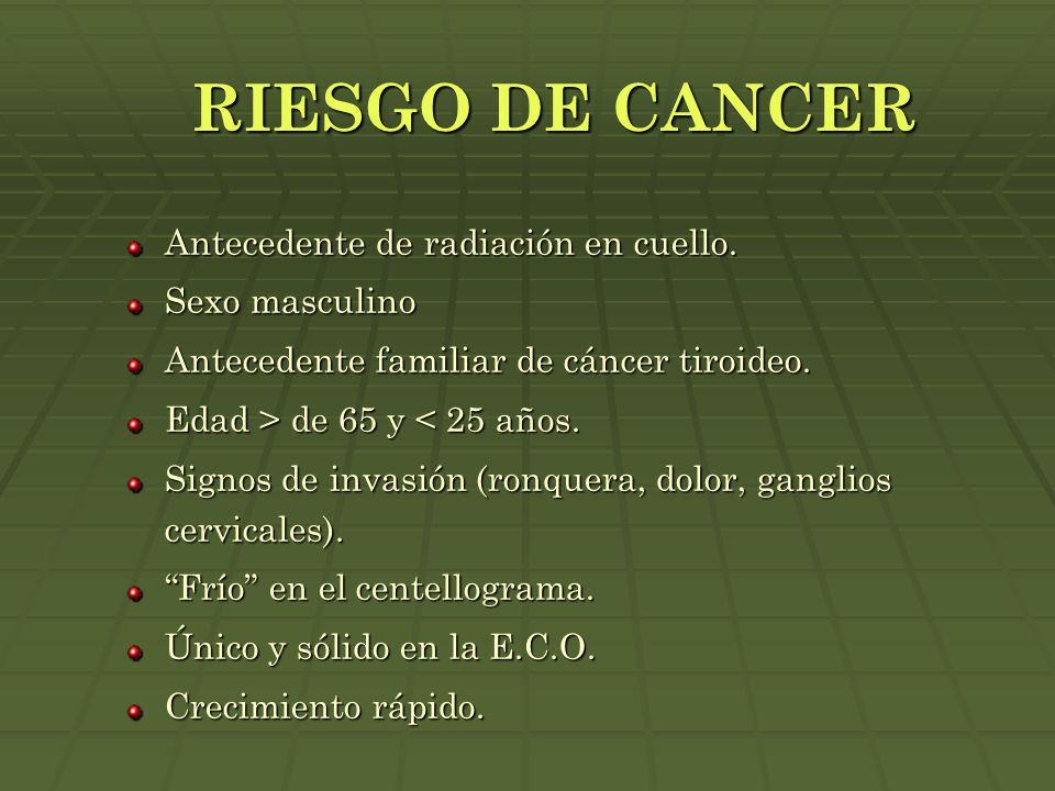 RIESGO DE CANCER Antecedente de radiación en cuello. Sexo masculino