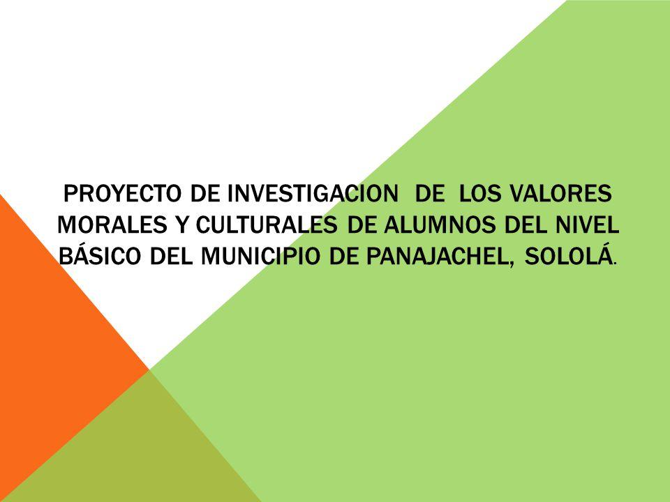 Proyecto De Investigacion De Los Valores Morales Y