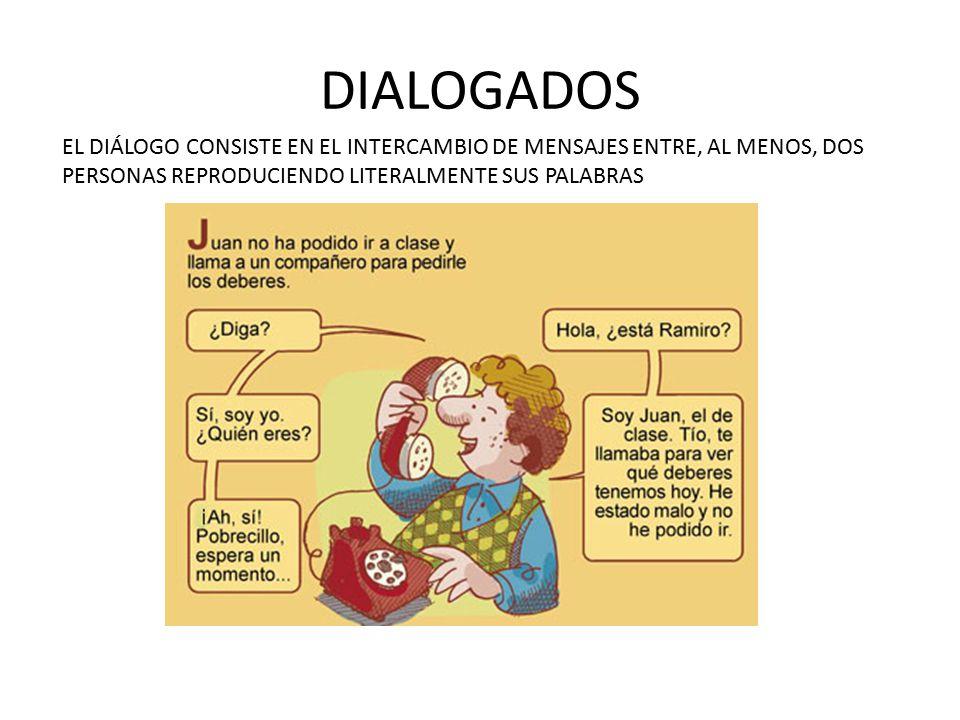 DIALOGADOS EL DIÁLOGO CONSISTE EN EL INTERCAMBIO DE MENSAJES ENTRE, AL MENOS, DOS PERSONAS REPRODUCIENDO LITERALMENTE SUS PALABRAS.