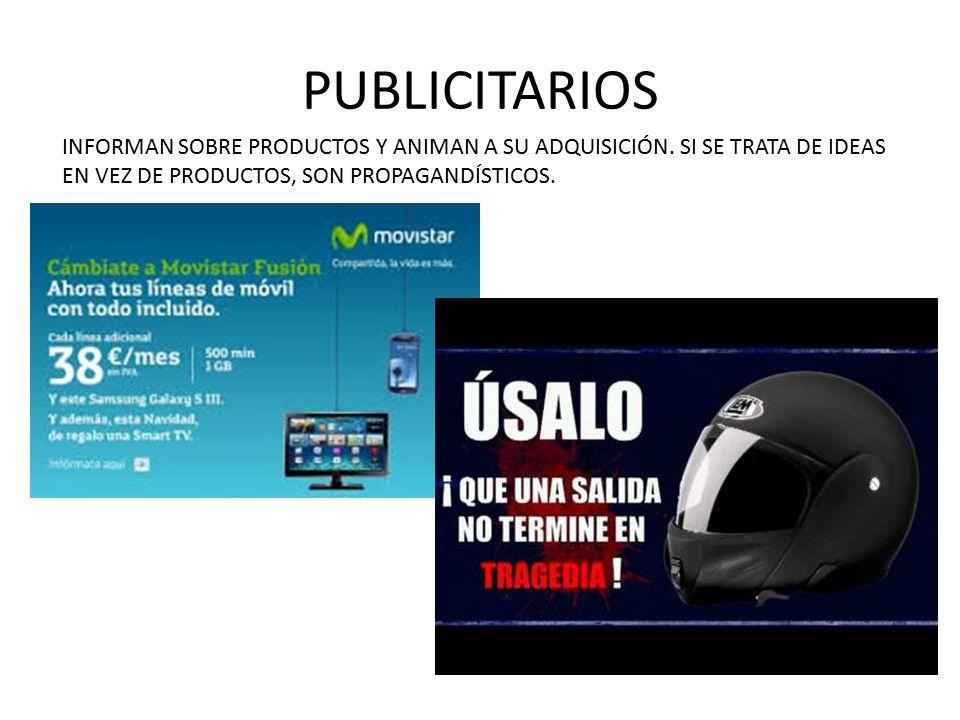 PUBLICITARIOS INFORMAN SOBRE PRODUCTOS Y ANIMAN A SU ADQUISICIÓN.