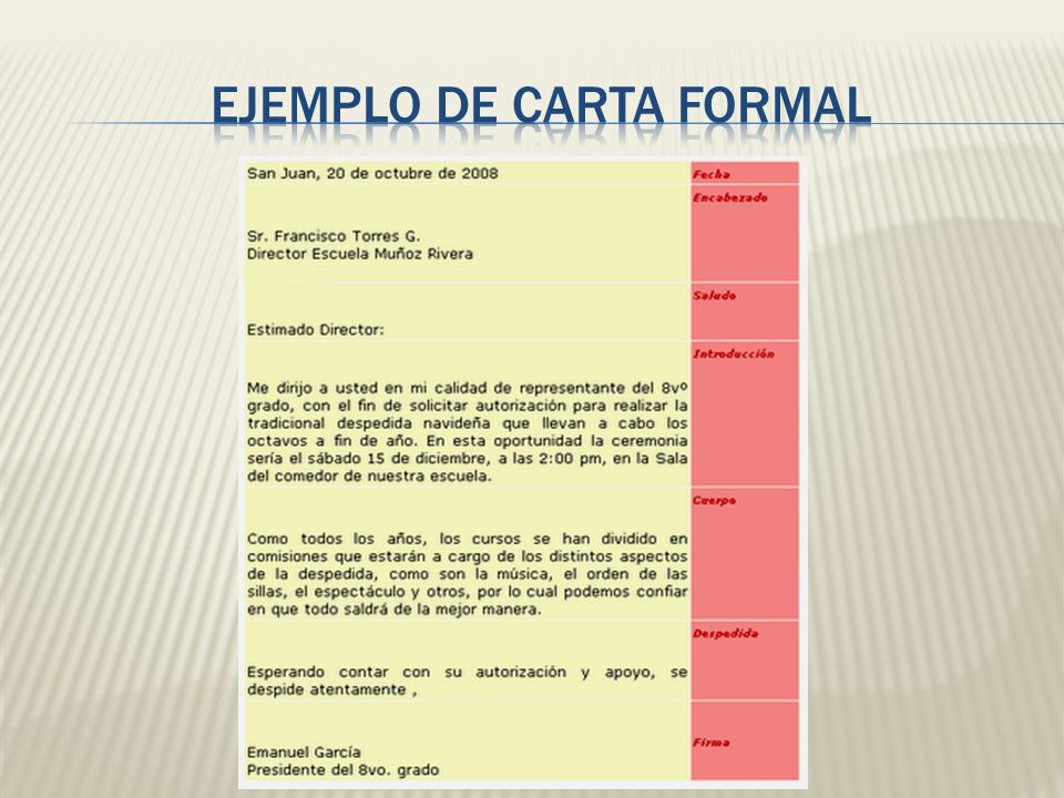 EJEMPLO DE CARTA FORMAL