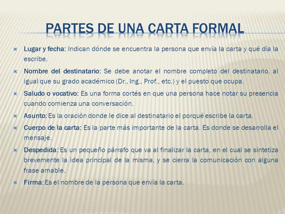 PARTES DE UNA CARTA FORMAL