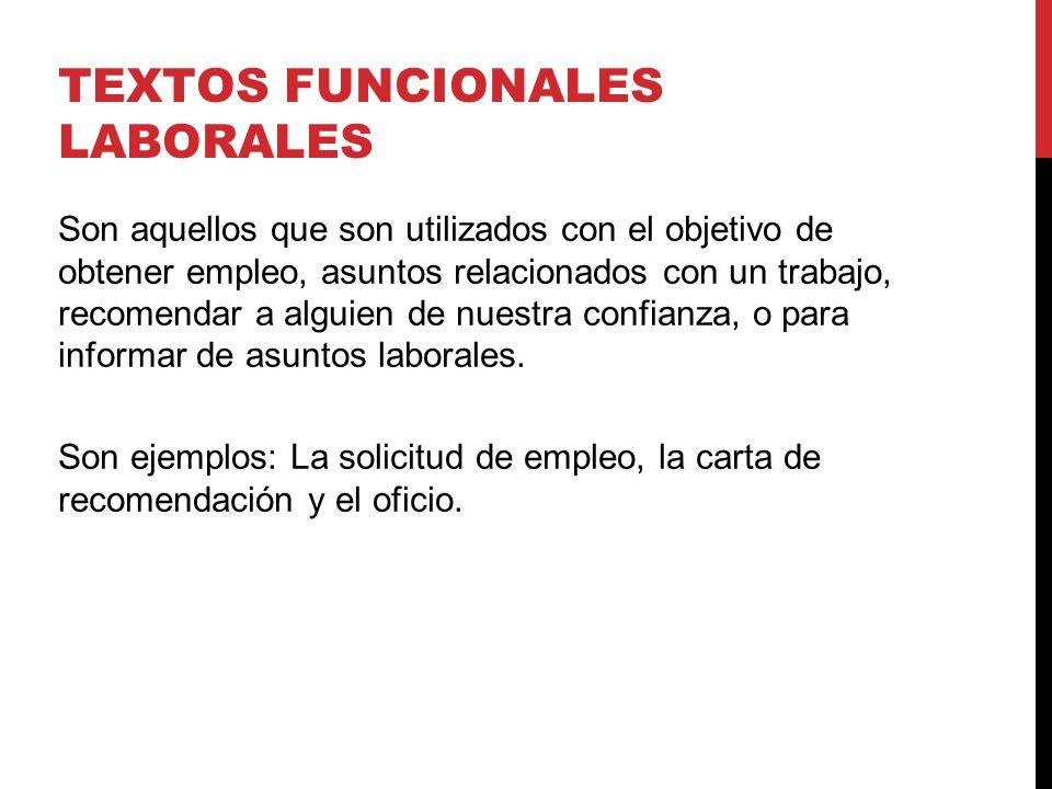 TEXTOS FUNCIONALES LABORALES