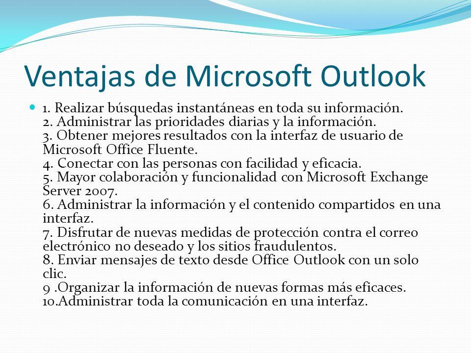 LA TECNOLOGÍA Y SUS USOS EN NUESTRAS VIDAS. Ventajas+de+Microsoft+Outlook