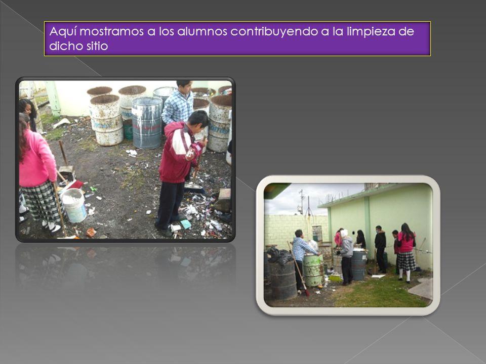 Aquí mostramos a los alumnos contribuyendo a la limpieza de dicho sitio
