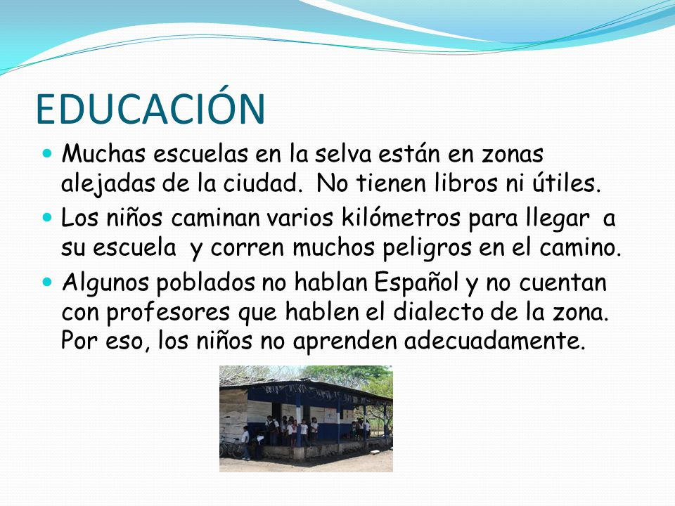 EDUCACIÓN Muchas escuelas en la selva están en zonas alejadas de la ciudad. No tienen libros ni útiles.