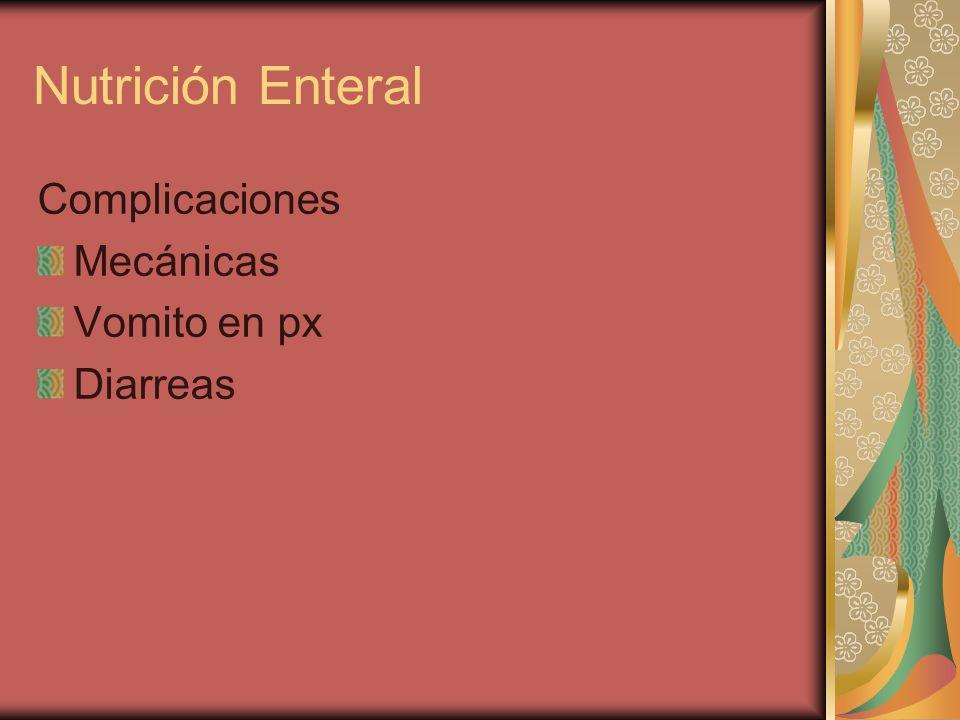 Nutrición Enteral Complicaciones Mecánicas Vomito en px Diarreas