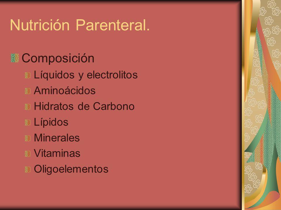 Nutrición Parenteral. Composición Líquidos y electrolitos Aminoácidos