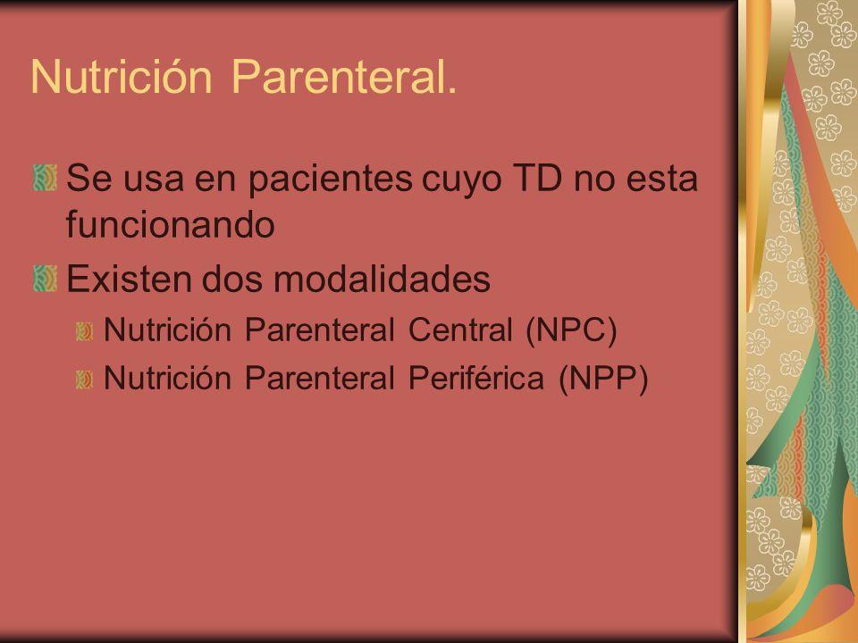 Nutrición Parenteral. Se usa en pacientes cuyo TD no esta funcionando