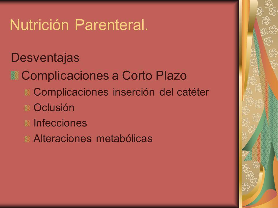 Nutrición Parenteral. Desventajas Complicaciones a Corto Plazo