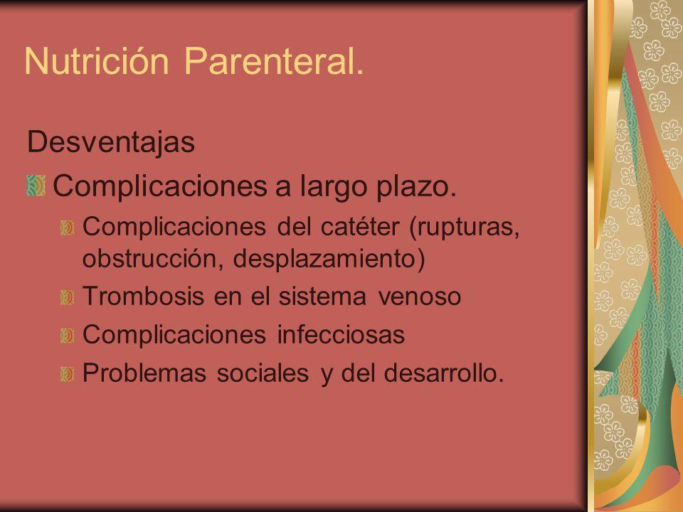 Nutrición Parenteral. Desventajas Complicaciones a largo plazo.