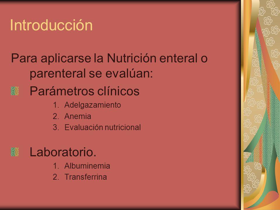 Introducción Para aplicarse la Nutrición enteral o parenteral se evalúan: Parámetros clínicos. Adelgazamiento.