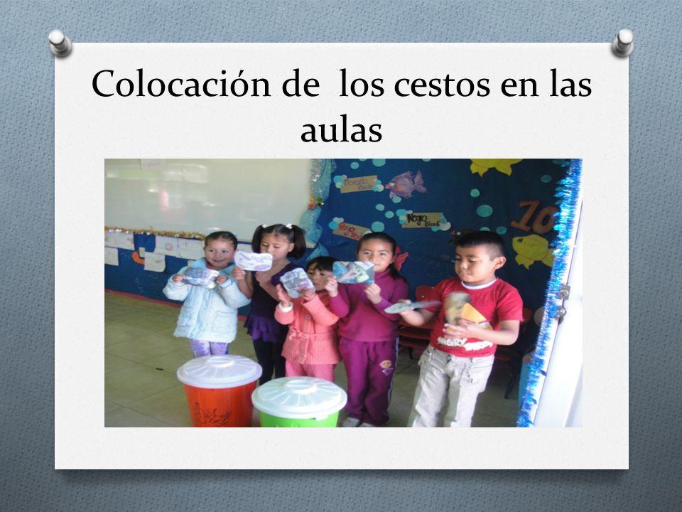 Colocación de los cestos en las aulas