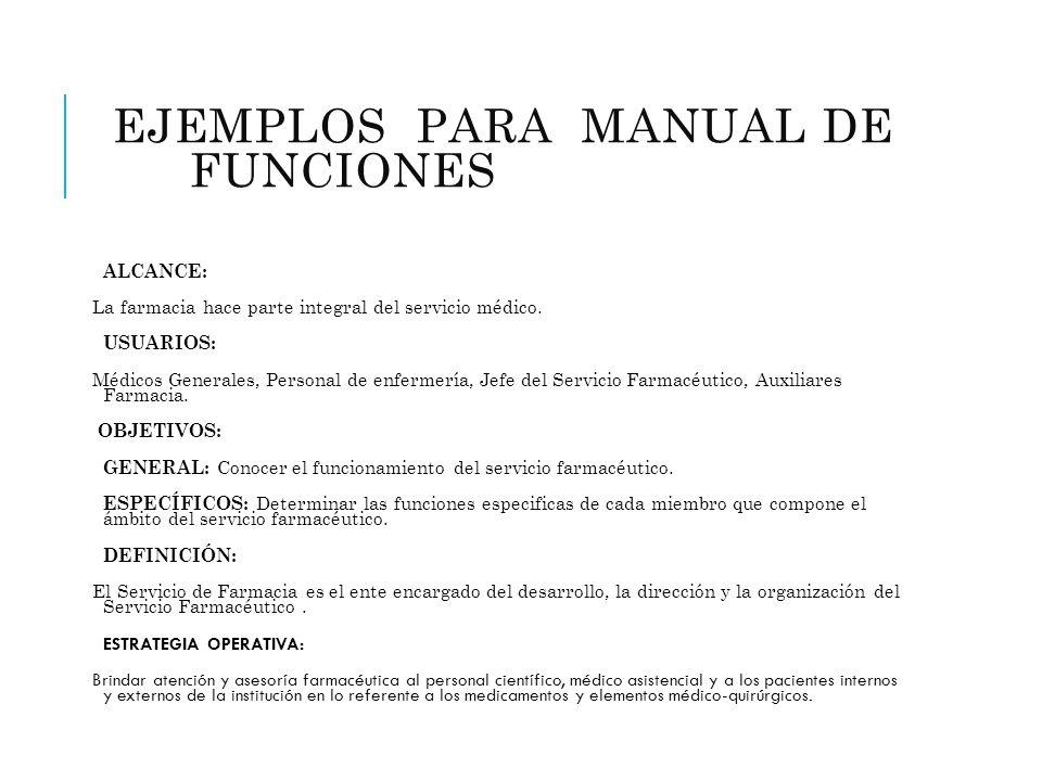EJEMPLOS PARA MANUAL DE FUNCIONES (FARMACIA)