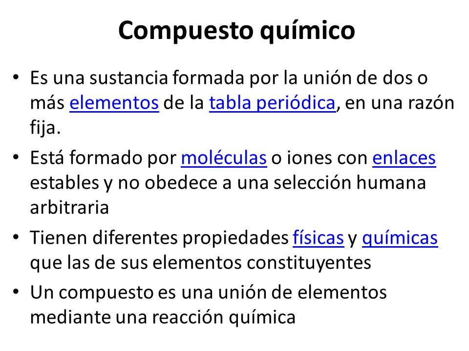 Conceptos bsicos 11 elementos compuestos y mezclas ppt descargar compuesto qumico es una sustancia formada por la unin de dos o ms elementos de la urtaz Gallery