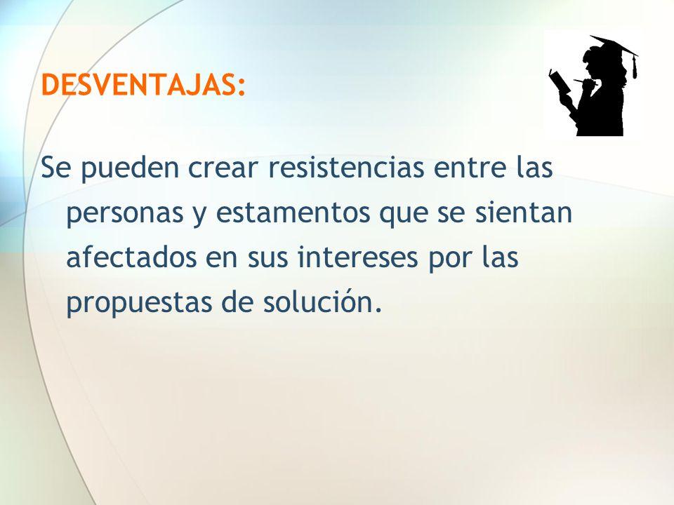 DESVENTAJAS: Se pueden crear resistencias entre las personas y estamentos que se sientan afectados en sus intereses por las propuestas de solución.