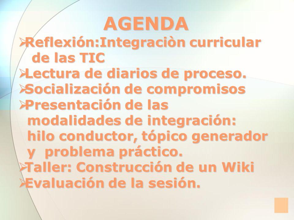 AGENDA Reflexión:Integraciòn curricular de las TIC