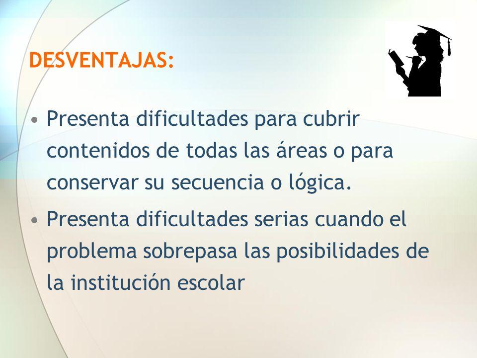 DESVENTAJAS: Presenta dificultades para cubrir contenidos de todas las áreas o para conservar su secuencia o lógica.