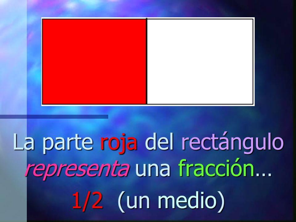 La parte roja del rectángulo representa una fracción… 1/2 (un medio)