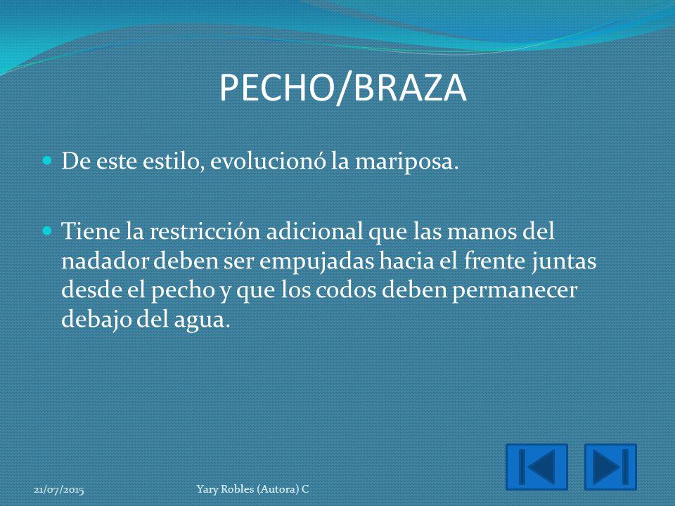 PECHO/BRAZA De este estilo, evolucionó la mariposa.
