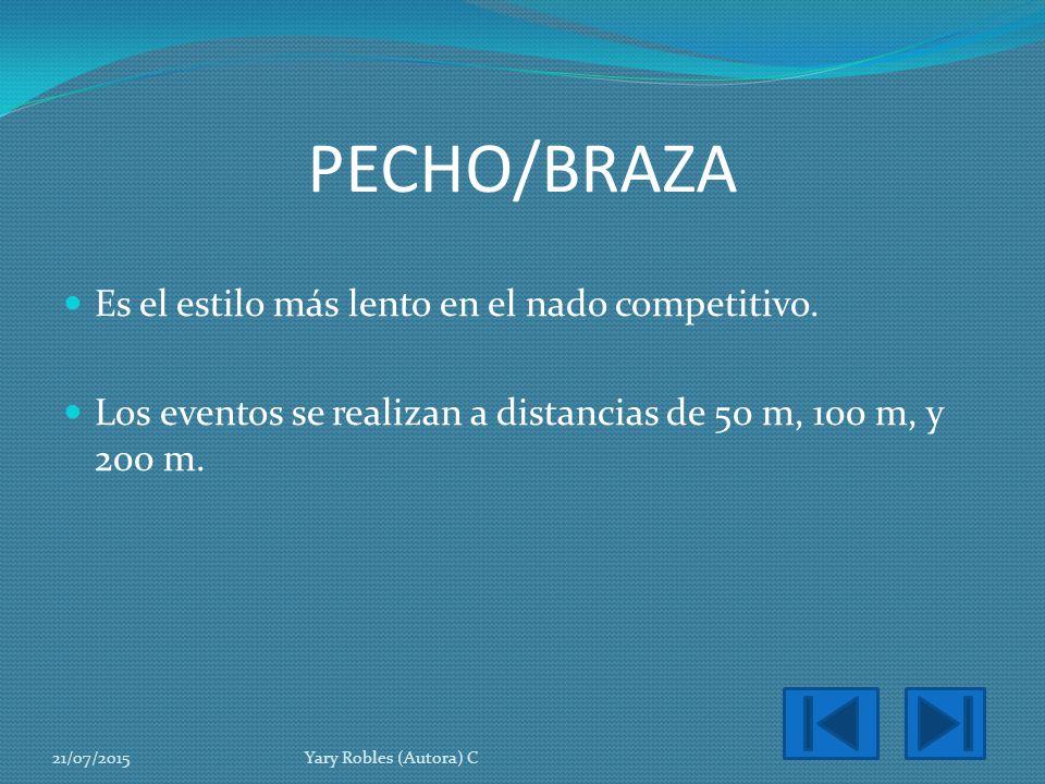 PECHO/BRAZA Es el estilo más lento en el nado competitivo.
