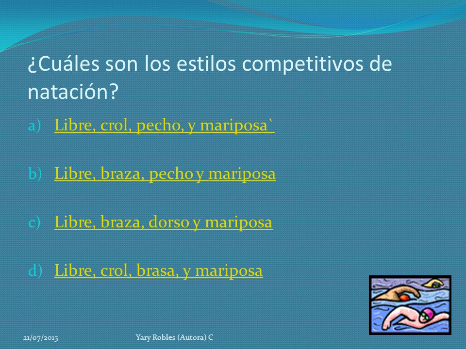 ¿Cuáles son los estilos competitivos de natación