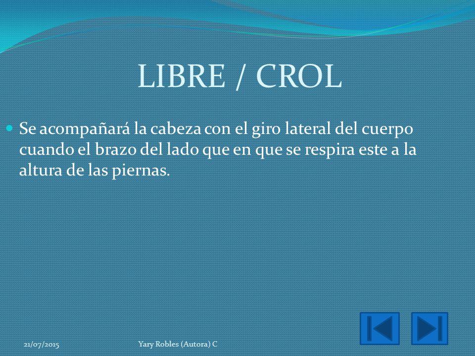 LIBRE / CROL Se acompañará la cabeza con el giro lateral del cuerpo cuando el brazo del lado que en que se respira este a la altura de las piernas.