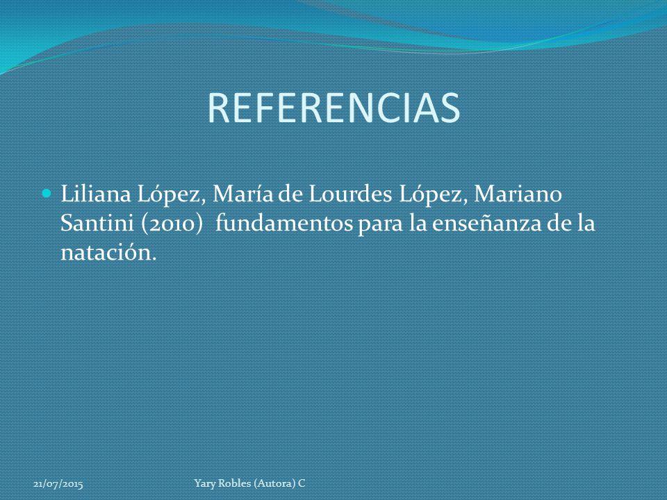 REFERENCIAS Liliana López, María de Lourdes López, Mariano Santini (2010) fundamentos para la enseñanza de la natación.