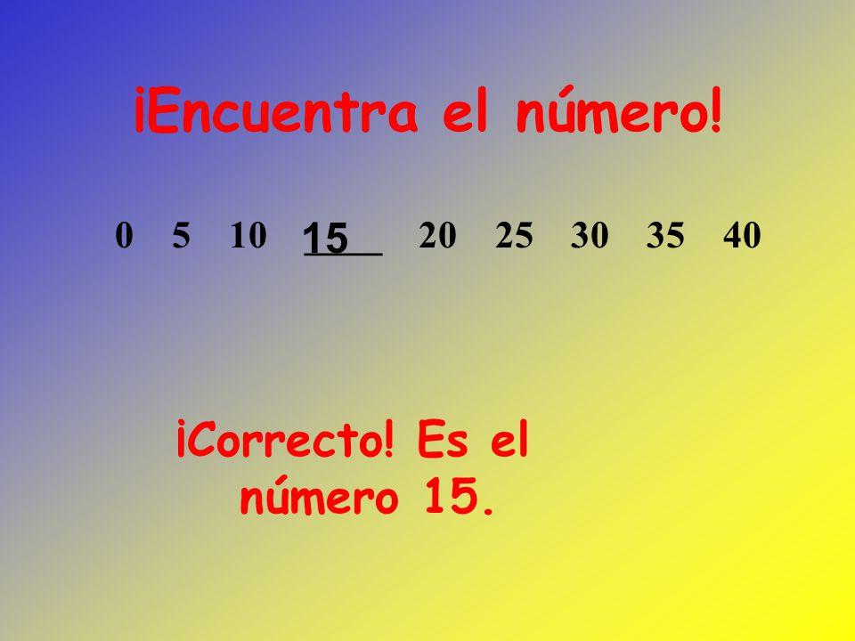 ¡Encuentra el número! ¡Correcto! Es el número 15. 15