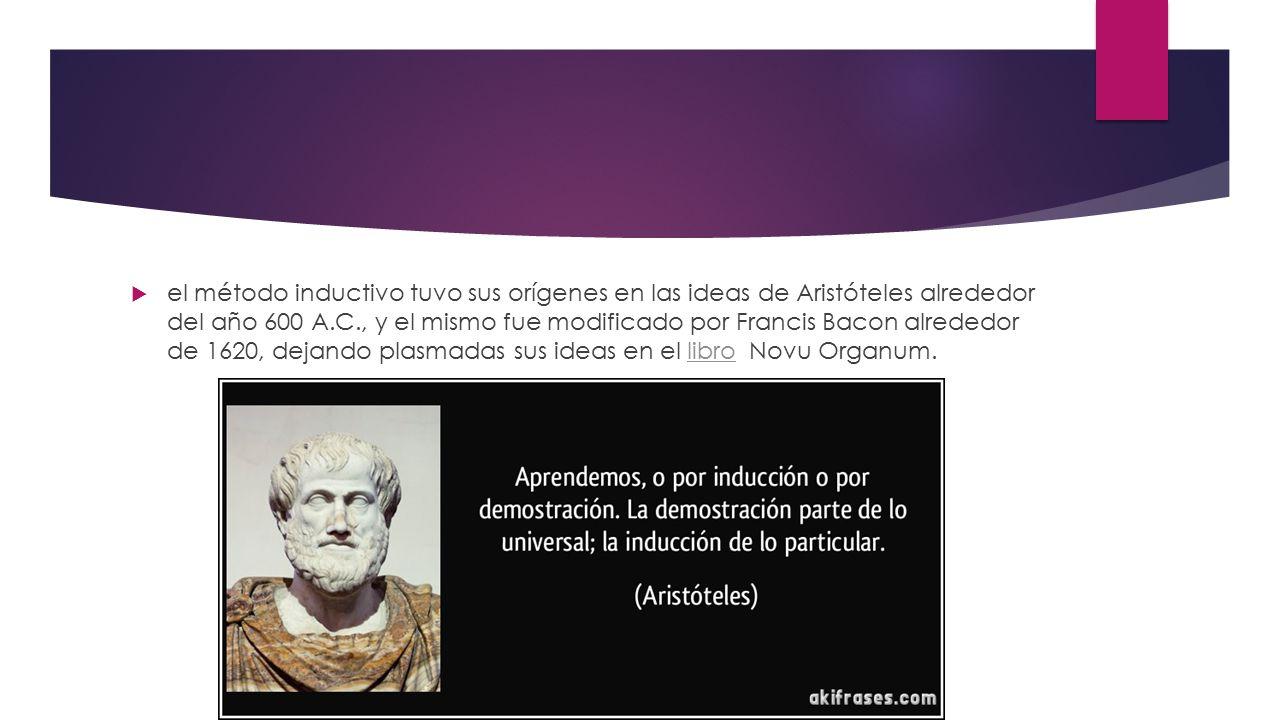 el método inductivo tuvo sus orígenes en las ideas de Aristóteles alrededor del año 600 A.C., y el mismo fue modificado por Francis Bacon alrededor de 1620, dejando plasmadas sus ideas en el libro Novu Organum.