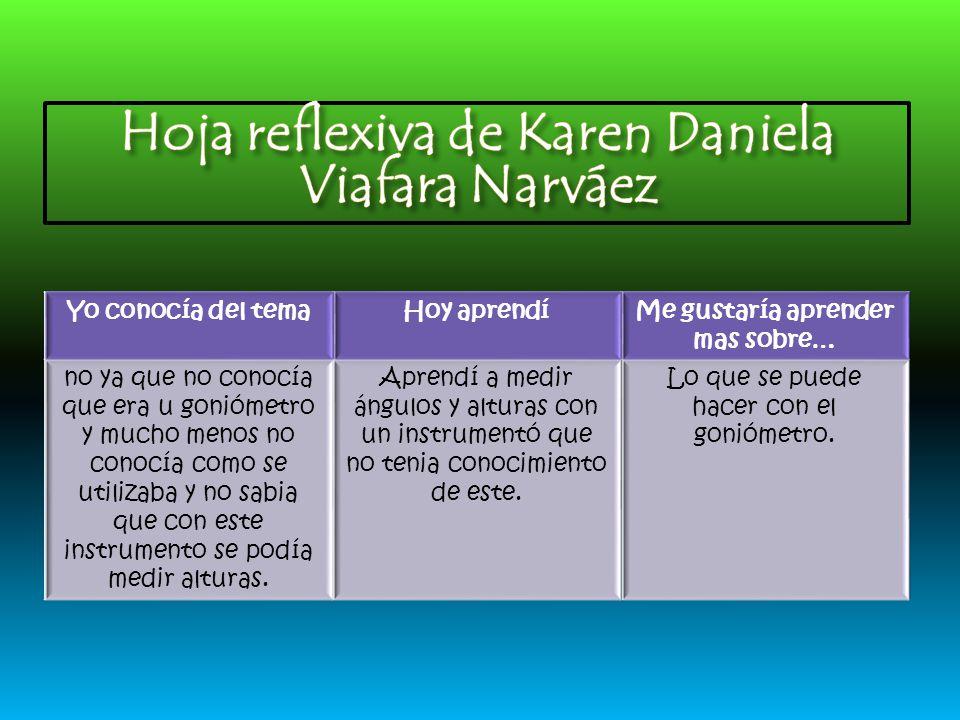 Hoja reflexiva de Karen Daniela Viafara Narváez