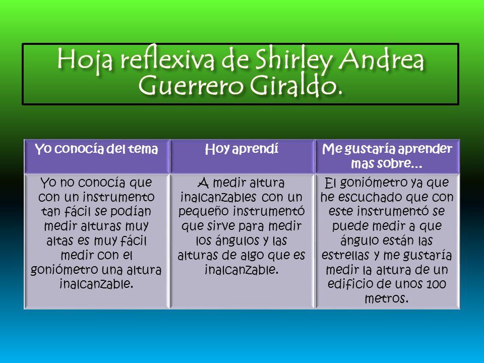 Hoja reflexiva de Shirley Andrea Guerrero Giraldo.