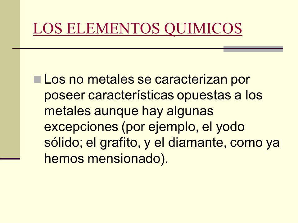 caracteristicas de los elementos essay Caracteristicas generales de los metales alcalinos -son los elementos mas electropositivos al tener sus átomos la máxima tendencia en perder electrones.