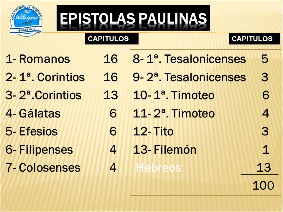EPISTOLAS PAULINAS CAPITULOS. CAPITULOS.