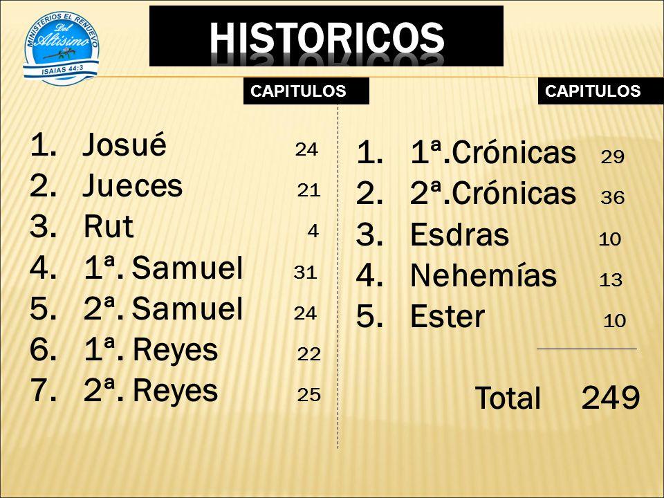 HISTORICOS 1ª.Crónicas 29 Josué 24 2ª.Crónicas 36 Jueces 21 Esdras 10