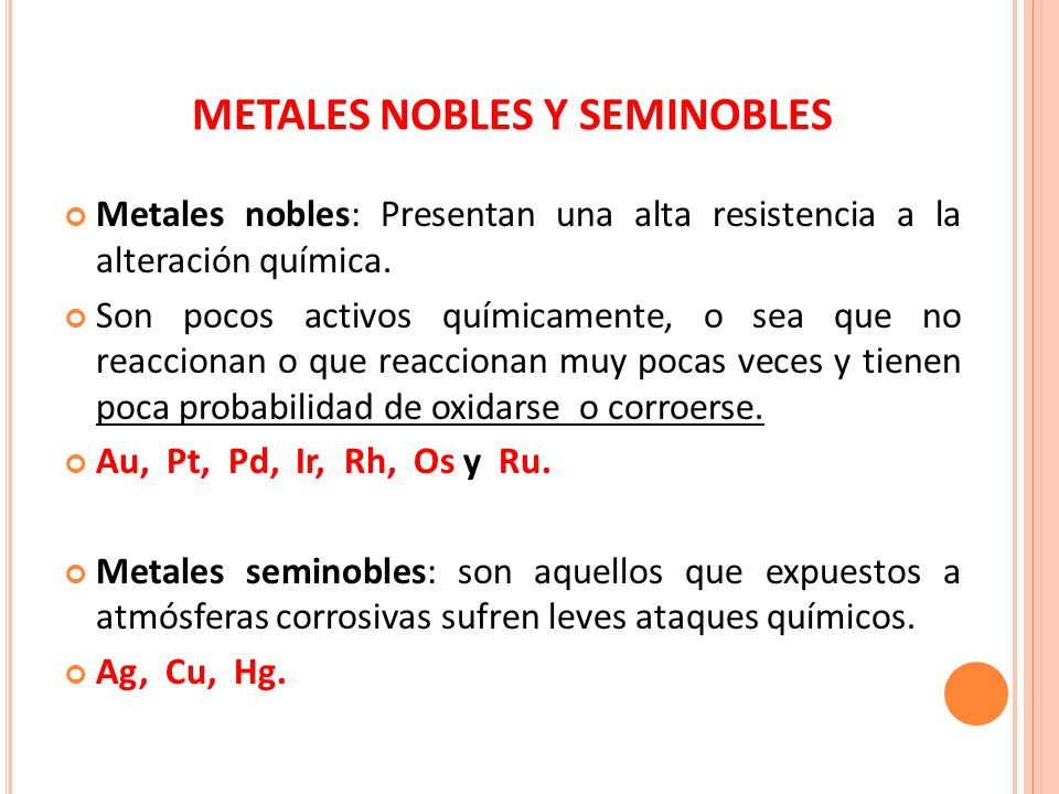 Tabla peridica de los elementos qumicos ppt video online descargar metales nobles y seminobles urtaz Choice Image