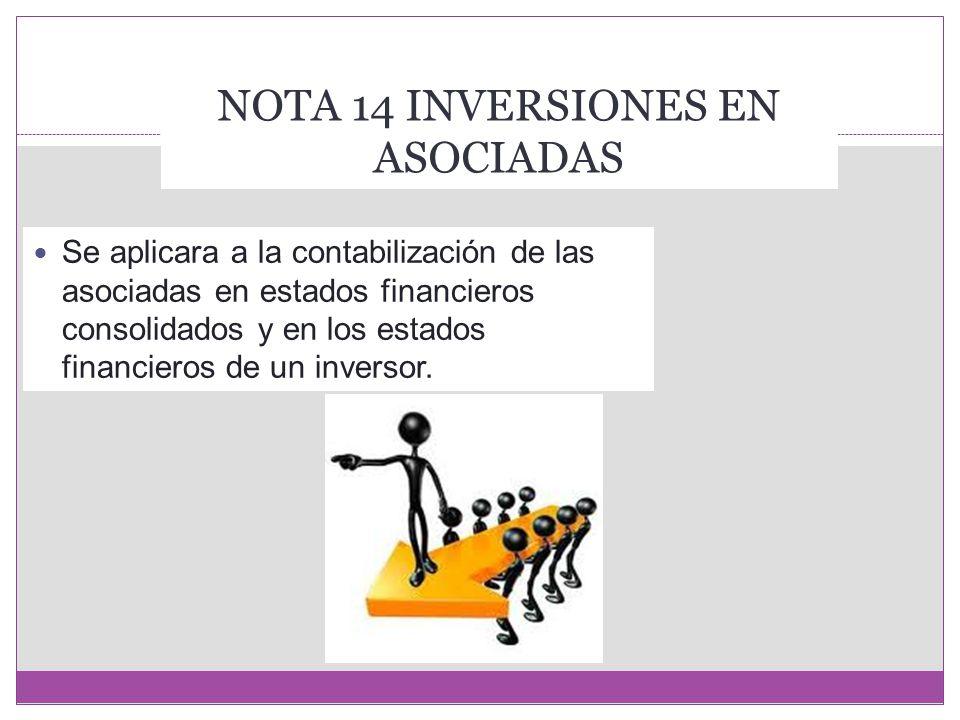 NOTA 14 INVERSIONES EN ASOCIADAS
