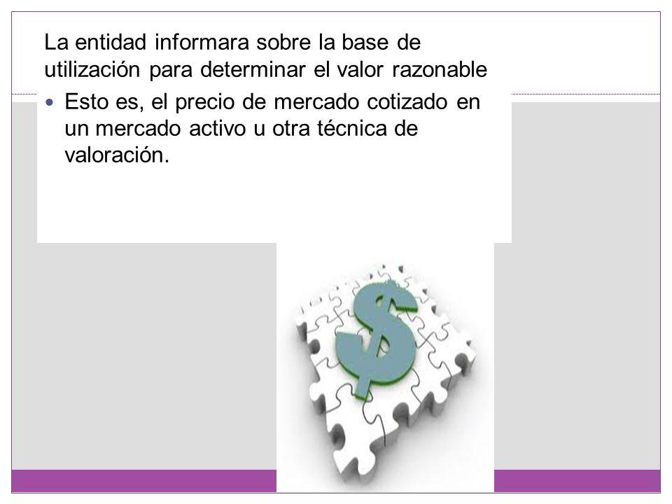 La entidad informara sobre la base de utilización para determinar el valor razonable