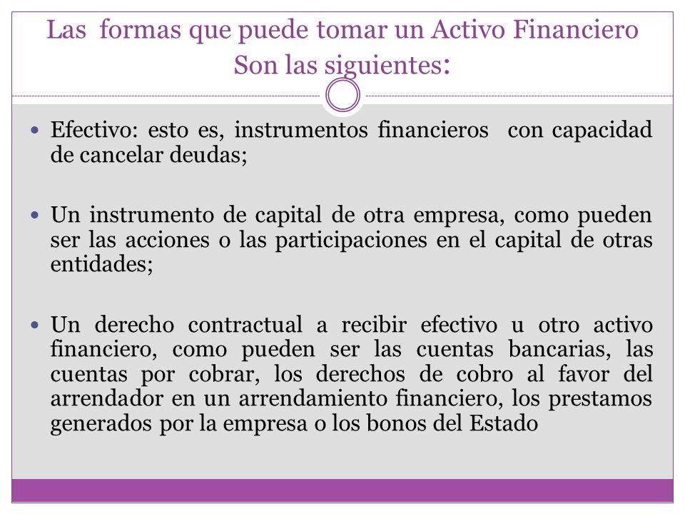 Las formas que puede tomar un Activo Financiero Son las siguientes: